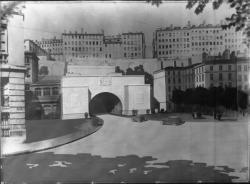 [Dessin de l'entrée du tunnel de la Croix-Rousse et de la place Louis-Chazette, vus depuis le quai Saint-Clair]