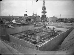 [Compagnie nationale du Rhône (CNR) : construction du port Edouard Herriot : fondations]