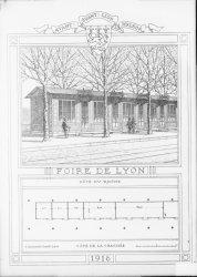 [Foire de Lyon en 1916 : élévation et plan des stands, quai Achille-Lignon]