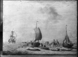 [Photographie d'une estampe représentant des bateaux accostants]