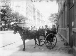 [Petite voiture attelée à un cheval dans une rue de Lyon]