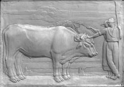 """[Ecole d'agriculture de Cibeins : """"Les Boeufs"""", bas-relief monumental]"""