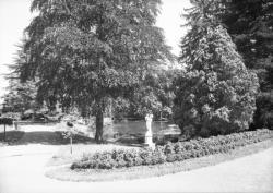 [Parc du château de Propières : étang avec une statue]