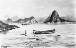 [Tableau de Trajano : paysage maritine, des enfants tirent une barque]