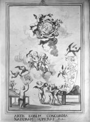 """[Hôtel de ville de Lyon, dessin portant la légende : """"Artis eorum concordia naturam""""]"""