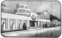 [Exposition internationale des arts décoratifs et industriels modernes à Paris en 1925, pavillon de Lyon et de la région lyonnaise : dessin de la façade]