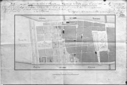 [Inspection des ponts-et-chaussées, département du Rhône, exercice 1815. Projet de rectification de l'ancien plan de Perrache, afin de le raccorder avec le cours du Midi (plan du quartier compris entre Bellecour et Perrache)]