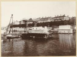 [La Construction du pont d'Ainay, sur la Saône, à la fin du XIXe siècle]
