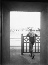 [La Piscine d'été de Cusset à Villeurbanne : un nageur]