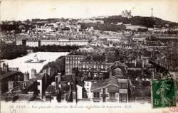 Lyon ; Vue générale ; Quartier Bellecour et Colline de Fourvière.