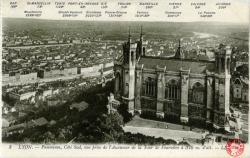 Lyon : Panorama ; Côté Sud ; vue prise de l'Ascenseur de la Tour de Fourvière à 376 m. d'alt.