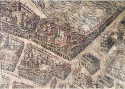 Rue Mercière ; Plan scénographique ; Circa, 1550