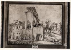 Chambre de Commerce de Lyon ; Musée des Arts décoratifs : Hubert Robert, 1733-1808 ; Dessin à la sanguine.