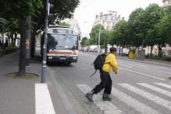 Grève des TCL : bus, piéton à rollers et passage clouté