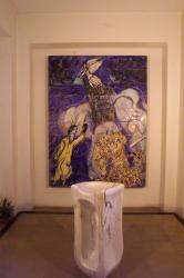 [Eglise Notre-Dame-de-Toute-Grâce du Plateau d'Assy : tableau de Chagall et fonts baptismaux]