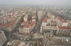 [Vue aérienne du quartier des Brotteaux : chantier de la ligne T1 du tramway]