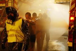 """[Exercice """"Piratox"""" contre les risques chimiques dans la station de métro Stade de Gerland]"""