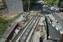 [Pose des rails de la ligne T1 du tramway, cours Charlemagne]