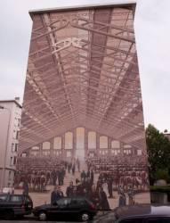 """Quartier des États-Unis : mur peint """"Abattoirs de La Mouche"""""""