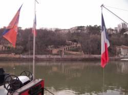 La Rive droite de la Saône depuis le quai Rambaud