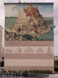 """Place Mendès-France : fresque réalisée d'après """"La Tour de Babel"""" de Bruegel"""