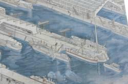 Fresque représentant une vue des usines : détail