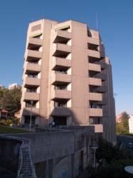 """Les """"grandes orgues"""" vues depuis la terrasse au-dessus du tunnel sous Fourvière"""