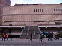 Le Centre commercial de la Part-Dieu, l'escalier, vu de la rue du Docteur Bouchut