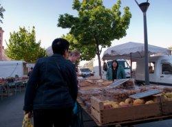 Un producteur sur le marché, quai des Célestins