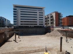 Carrefour du boulevard Vivier-Merle et de l'avenue Félix-Faure : immeubles de bureaux et chantier de construction d'un immeuble