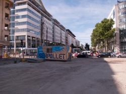 Chantier de prolongement de la rue Mouton-Duvernet et de la T4 vers le carrefour des rues Paul-Bert et de la Villette