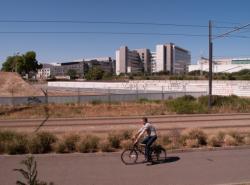 Chantier de prolongement de la rue Mouton-Duvernet et de la T4, la Ligne de l'Est (T3) : la piste cyclable, un cycliste