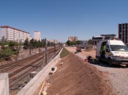 Le chantier de prolongement de la T4 vus depuis la rue de l'Epargne vers le Nord