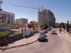Le chantier de prolongement de la T4 vus depuis la rue de l'Epargne vers la rue de la Solidarité