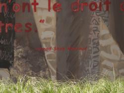 Rue Jean-Pierre Lévy : mur peint La Résistance le long de la ligne T3