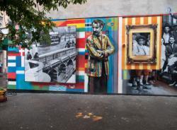 Ilot d'Amaranthes : mur peint par Eduardo Kobra sur le thème de l'immigration
