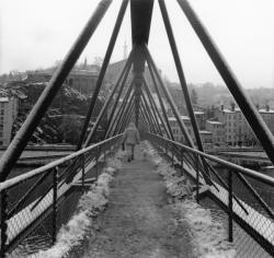 La Passerelle de l' Homme de la Roche un jour de neige.