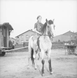 [Le cheval Tarjan monté par une jeune fille]
