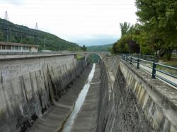 Barrage de Génissiat, canal de fuite