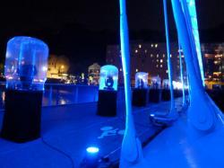 Dispositif d'éclairage sur le pont Schuman lors de son inauguration
