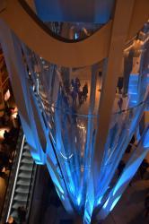 Vue du puits gravitique, intérieur du musée des Confluences