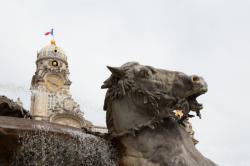 L'Hôtel de Ville et la fontaine de Bartholdi