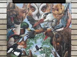 """Mur peint """"Agir pour la biodiversité"""", détail (Groupe scolaire Jean Macé)"""