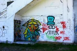 Tags sur les murs de l'ancienne Capitainerie