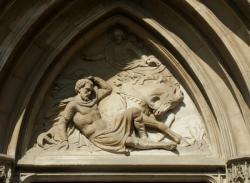"""[Eglise Saint-Paul, tympan, """"Sur les chemins de Damas""""]"""