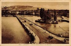 Genève - pont du Mont-Blanc et Ile Rousseau.