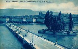 Genève - Pont de Mont-Blanc et Ile Rousseau.