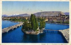 Genève - Ile J.J. Rousseau et le Mont-Blanc.