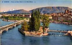Genève - Pont du Mont Blanc et le Mont-Blanc.