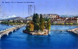 Genève - Ile J. J. Rousseau et le Mont-Blanc.